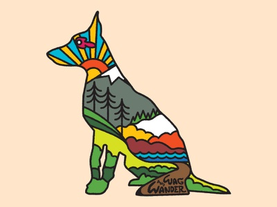 Wag & Wander color outdoors adventure hiking psychedelic typography retro illustration apparel dog logo