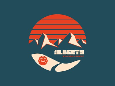 Alberta color apparel alberta rose canada mountains outdoors retro illustration badge circle logo