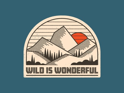 Wild is Wonderful sticker hiking illustration 1970s badge patch retro mountains outdoors hatching design