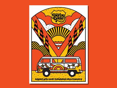 Magic Art School Bus colors print simple sunrise beach outdoors volkswagen vw bus pinewood derby hippie poster illustration