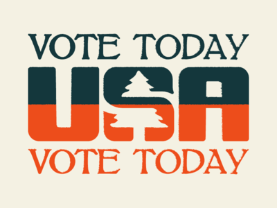 Get off Dribbble, Get to the Polls politics vote vintage america usa apparel illustration rustic tree logo voting