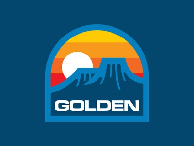 Golden Opportunity adventure vintage sunrise mountains hiking retro simple patch badge outdoors colorado logo