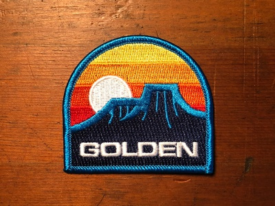 Golden Patch adventure hiking colors mountains sunset retro vintage goods simple decal colorado patch