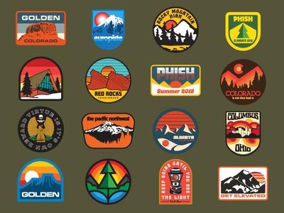 HDS Patch Work 2018 vintage illustration sticker set forest mountain phish pacific northwest colorado outdoors retro patches patch