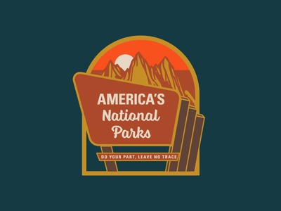 Pitch In for National Parks hiking signage environmental graphics conservation mountains national parks parks illustration logo badge outdoors