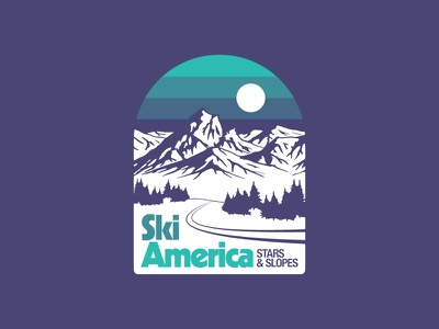 Land of the Ski, Home of the Grade mountain pnw winter design vector flat skiing poster nature badge outdoors illustration
