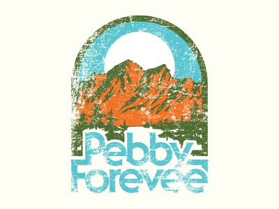 Pebby Forevee: Mountains R Callin' typography simple hiking outdoors patch branding design retro nature badge apparel illustration