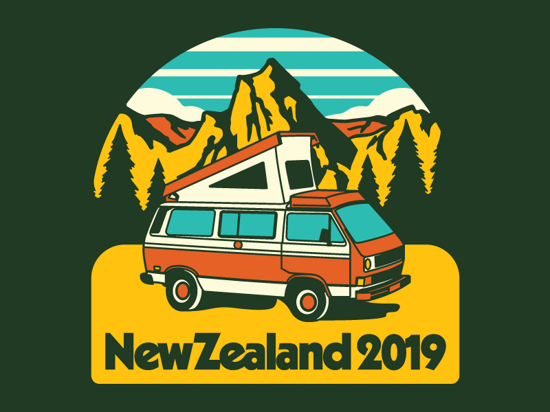 Not All Who Van Camp Are Lost icon flat design retro apparel mountains outdoors vector badge new zealand illustration camper van