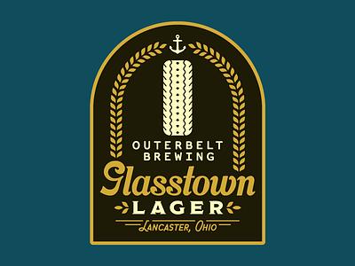 Glasstown Sticker label vintage industrial flat craft beer ohio brewing company sticker beer branding brewing beer illustration