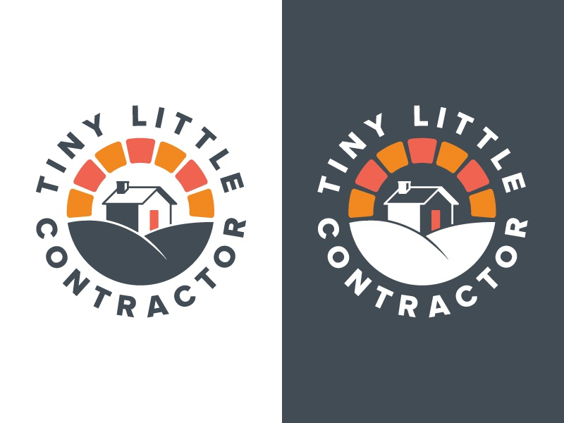 Tiny Little Contractor Brand Identity sunrise house remodeling construction flat icon branding vector ui badge illustration logo