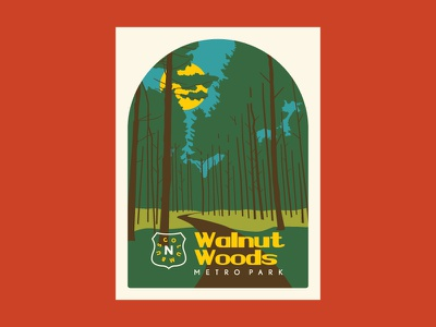 Walnut Woods WPA MetroPark Poster wpa national parks forest hiking retro flat poster art parks nature outdoors illustration poster