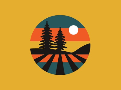 Sequoia Sunset farming pine tree icon flat vector hiking retro nature illustration ui badge outdoors