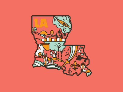 La-La Land new orleans southern louisiana retro apparel vector nature outdoors design illustration