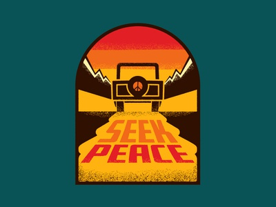 Peaceseeker graphic retro peace apparel mountains outdoors patch jeep illustration true grit texture supply texture sticker