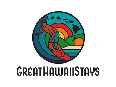 GreatHawaiiStays Logo nature retro outdoors hawaii surfing design branding ui badge apparel illustration logo