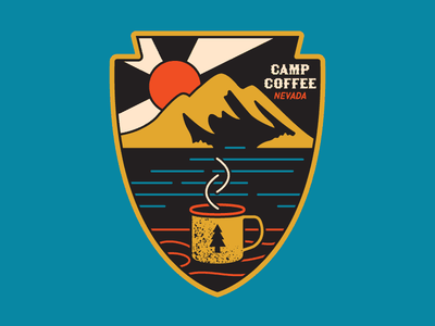 Camp Coffee Patch sunrise illustration cup design simple mountain retro badge outdoors coffee patch