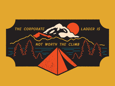 Climb A Mountain Instead monoline logo sunrise simple patch design badge design camping tent mountains outdoors illustration