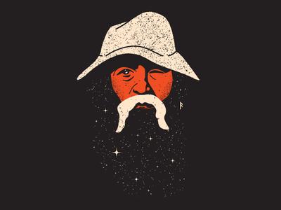 The All-Father retro flat design vector ui stars wanderer norse odin portrait illustration