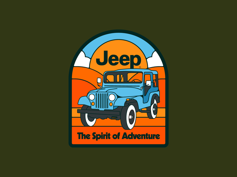 The Spirit of Adventure apparel nature merch design licensing desert outdoors illustration 1970s retro jeep patch