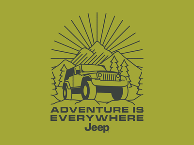 Adventure is Everywhere mountains licensing jeep branding nature retro outdoors design flat illustration