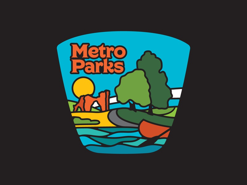 Columbus MetroParks metro parks columbus icon patch nature retro badge outdoors branding vector illustration logo