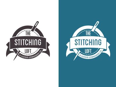The Stitching Loft: b/w & knockout black and white knockout logo sewing stitching stitch needle embroidery