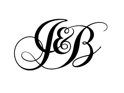 J&B monogram wedding monogram j b cursive elegant initials