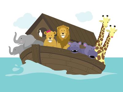 Noah's Ark boat animals twins baby shower biblical illustration noahs ark