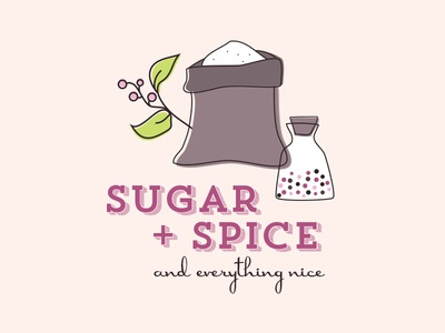Sugar + Spice baby girl typography spice sugar invitation baby shower illustration