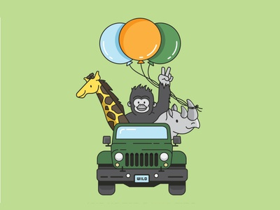 Birthday Illustration wild animals safari jeep invitation balloons rhino giraffe gorilla birthday