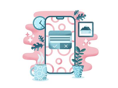 Yes or No coffee tea clock uidesign ui design uiux onboarding ui notification popup iphone iphine blue pink branding ui typography illustration vector onboarding