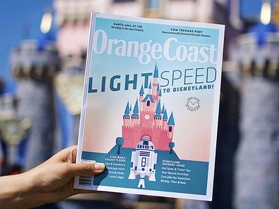 Lightspeed to Disneyland cute r2d2 starwars disneyland orange coast cover magazine disney disney art