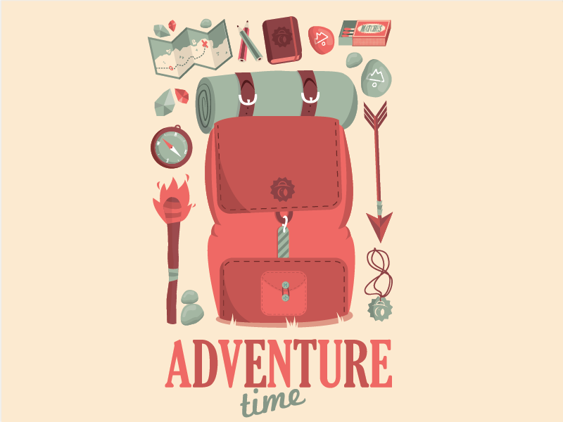 Adventure Time tomb raider aventure time green red compass torch backpack camping hiking map