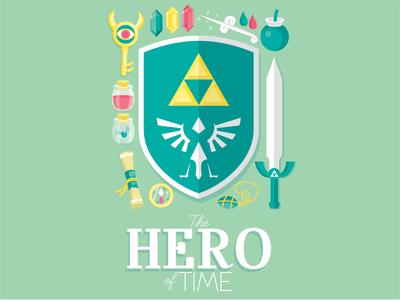 The Hero of Time zelda link hero sword triforce sheild rupee bomb key compass wand typography