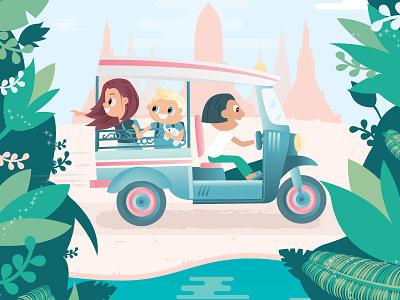 Adventures in Ayutthaya art illustration river jungle temple man travel thailand tuk tuk cute children kids