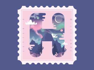 Space Holiday northern lights mountains clouds moon 36daysoftype type space stamp typography