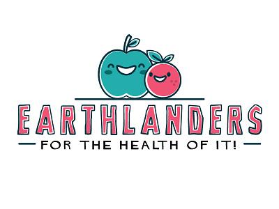 Healthy Eating typography slogan logo pink red green blue orange apple kids cute healthy