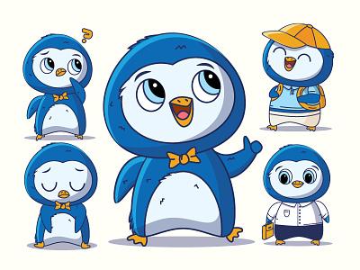 Penguin Character school work happy sad illustration outline blue cute penguin