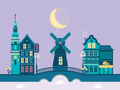 Amsterdam Colour vector flat water bridge tulips cheese coffeeshop moon windmill houses travel amsterdam