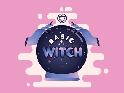 Basic Witch icon design ui space girl typography vector illustration mystic stars moon pink purple hands crystal ball halloween witch basic