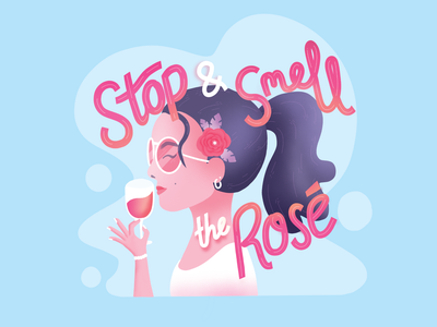 Stop and Smell the Rosé procreate vintage flower pun design character ui illustration blue vector cute typography caligraphy purple hair girl hand wine rosé rose