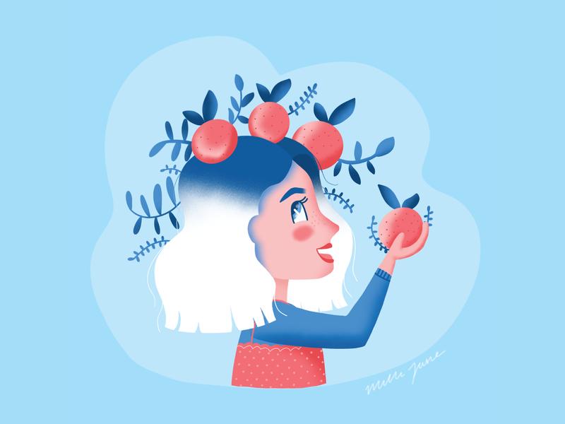 Clementine girl red blue hair brushes procreate hand lips eye eyes character girl vector cute illustration clementine orange