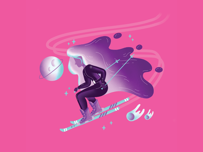Ski Girl procreate stars comet boots lycra sports neon pink purple hair space planets skiing ski character girl cute vector illustration
