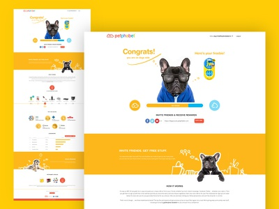 Dogs vs. Cats - Dogs Congrats page ui design home page landingpage prize sketch draw congratulations page cat dog