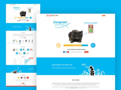 Dogs vs. Cats - Cats Congrats page campaign landing page home page reward page congratulation congrats cats cat