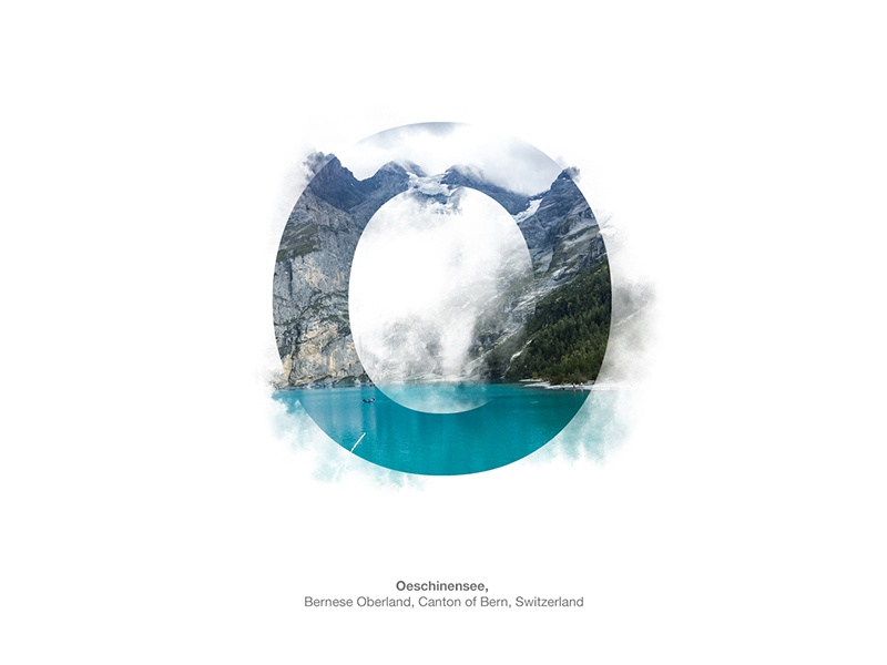 Oeschinensee mix type typography letters graphicdesign lake alps switzerland oeschinensee