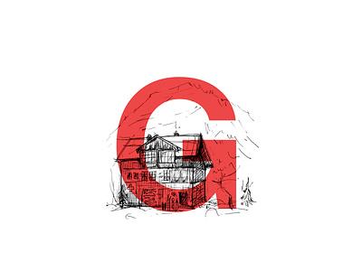 Grindelwald Chalet letters typography overlay digital grindelwald swiss alps mountains chalet ink sketchbook sketch