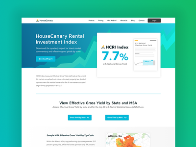 Rental Invesment Index real estate landing page real estate analytics