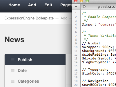 ExpressionEngine CP - Sass-ified eecms ee expressionengine cms sass admin wip