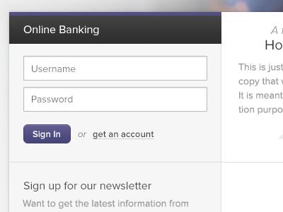 Log in banking fields form purple login log in proxima nova
